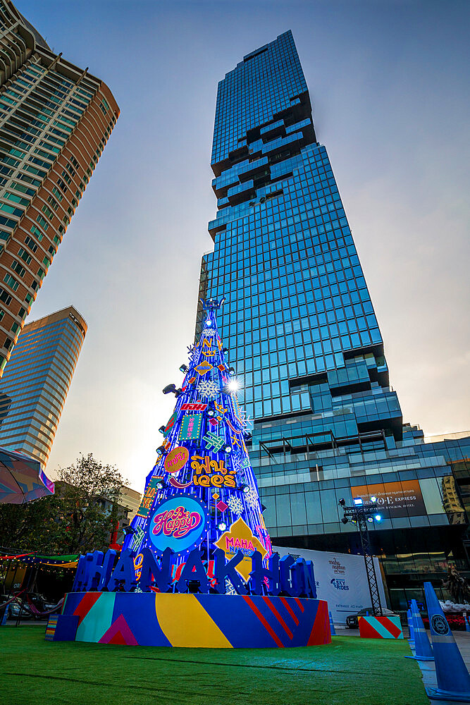 Merry Christmas tree in Bangkok, Thailand, Southeast Asia, Asia