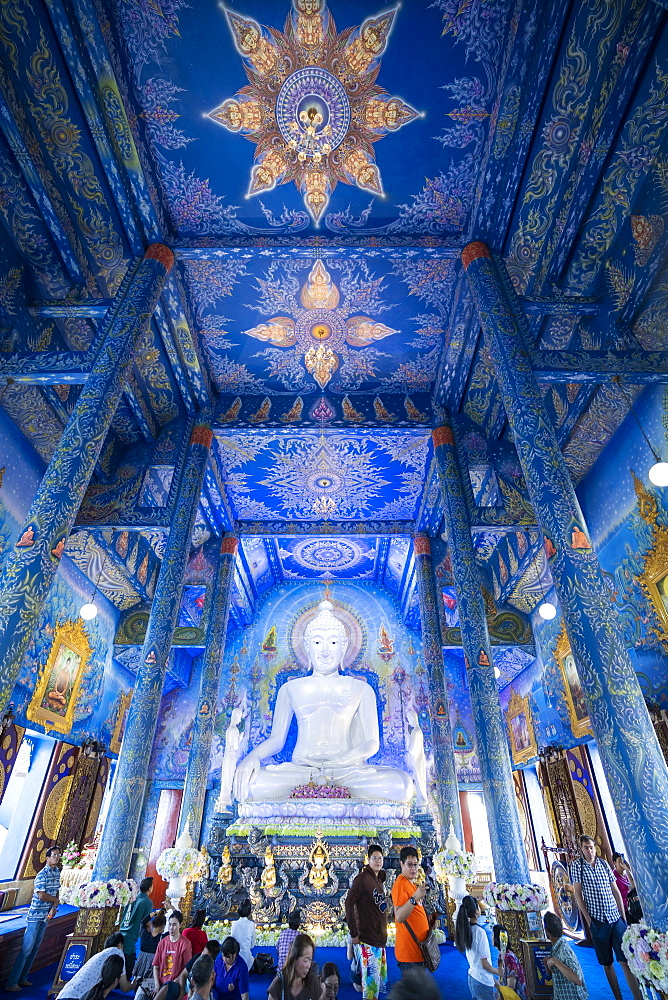 Inside of Wat Rong Suea Ten (Blue Temple) in Chiang Rai, Thailand, Southeast Asia, Asia
