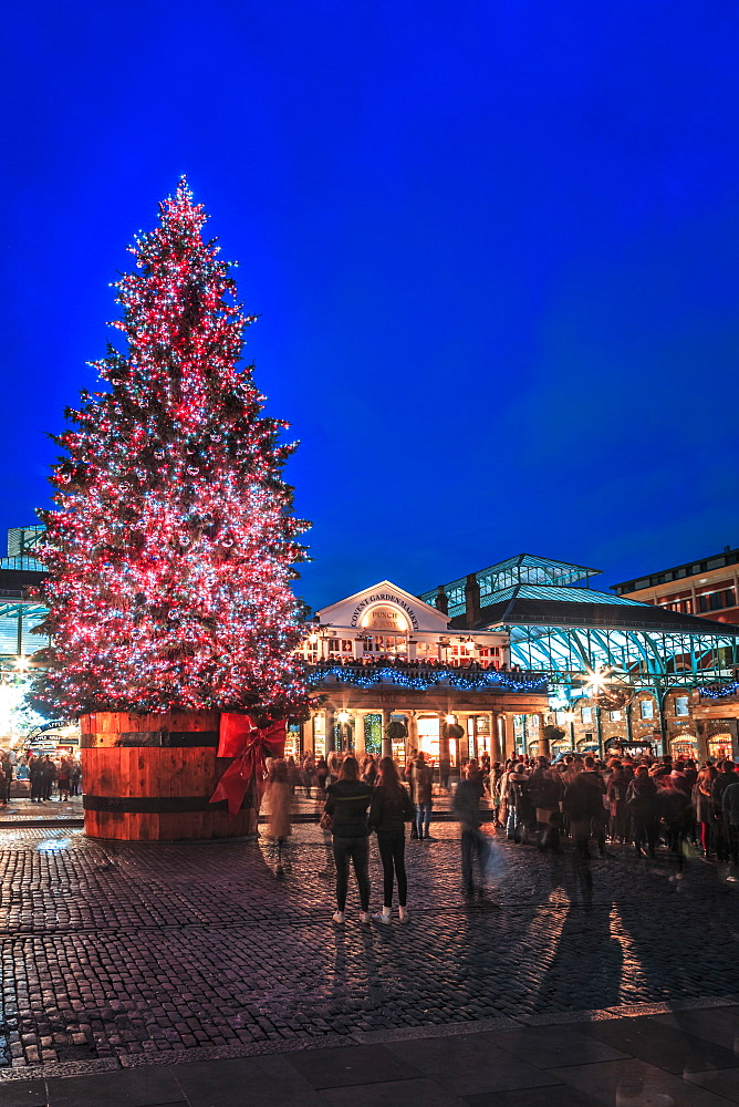Christmas tree, Covent Garden, London, England, United Kingdom, Europe
