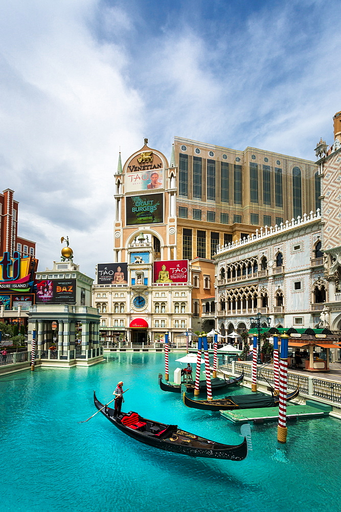 View of canal from The Venetian Hotel and Casino, The Strip, Las Vegas Boulevard, Las Vegas, Nevada, United States of America, North America