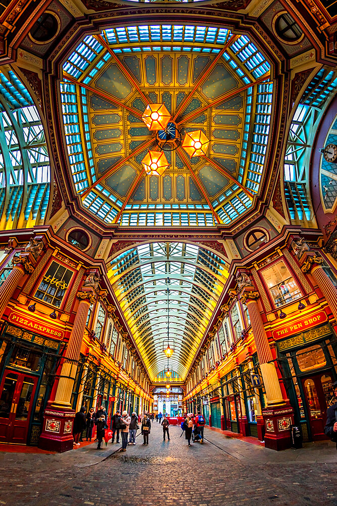 Fisheye view of interior of Leadenhall Market, The City, London, England, United Kingdom, Europe - 1276-43