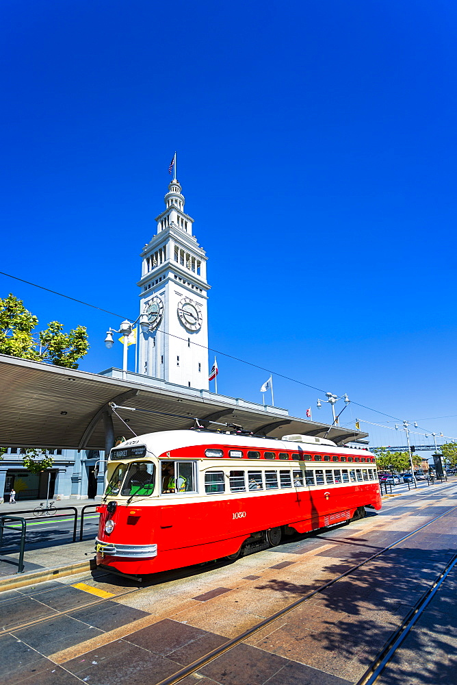 Ferry Building and Red Tram, San Francisco, California, United States of America, North America - 1276-441
