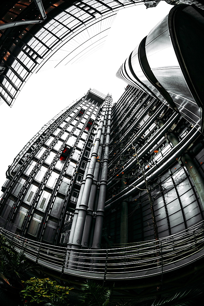 Fisheye view of Lloyds and The Leadenhall Buildings, financial district, City of London, England, United Kingdom, Europe - 1276-49