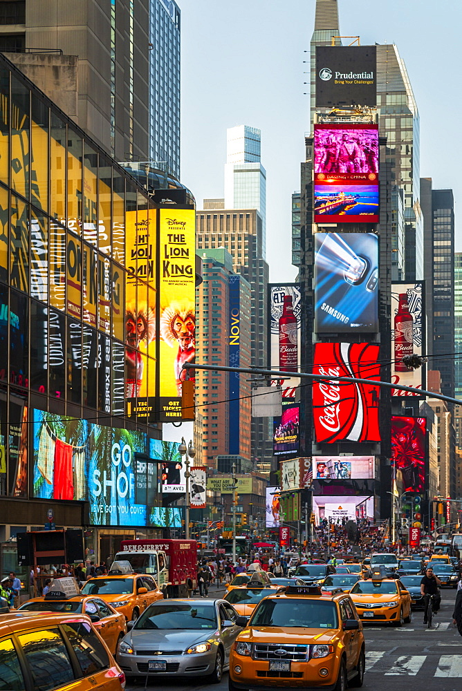 Bright billboards, busy traffic, Times Square, Broadway, Theatre District, Manhattan, New York, United States of America, North America