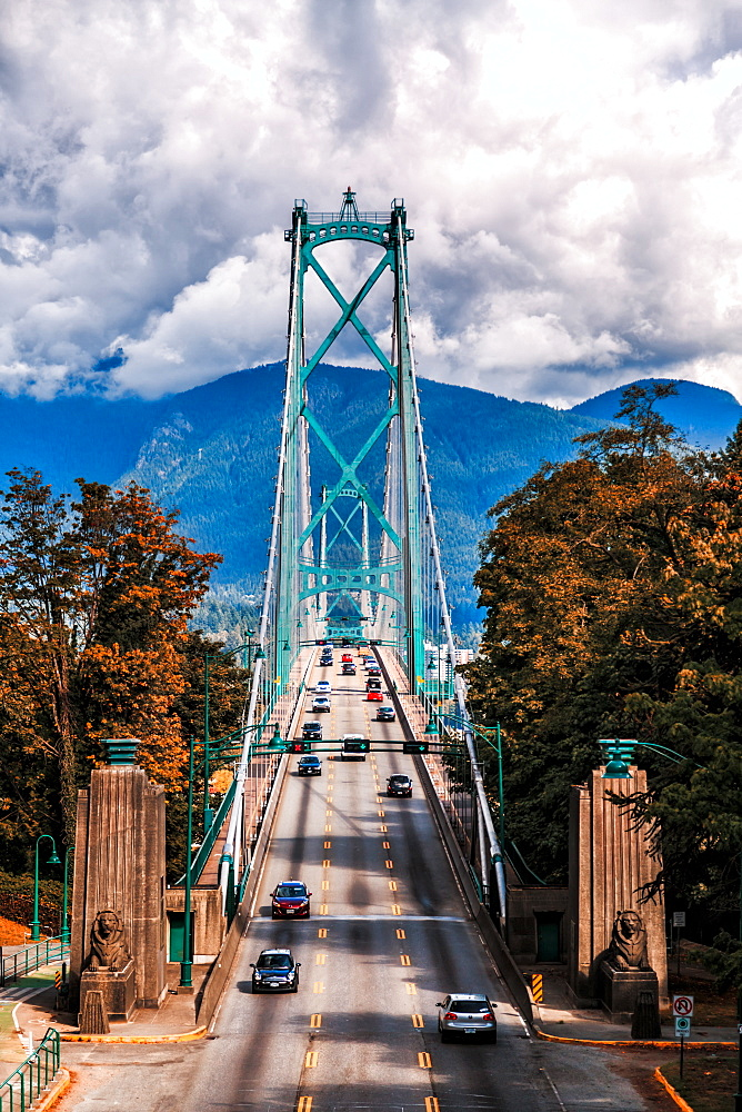 Traffic over Lions Gate Bridge in the autumn, Vancouver British Columbia, Canada, North America