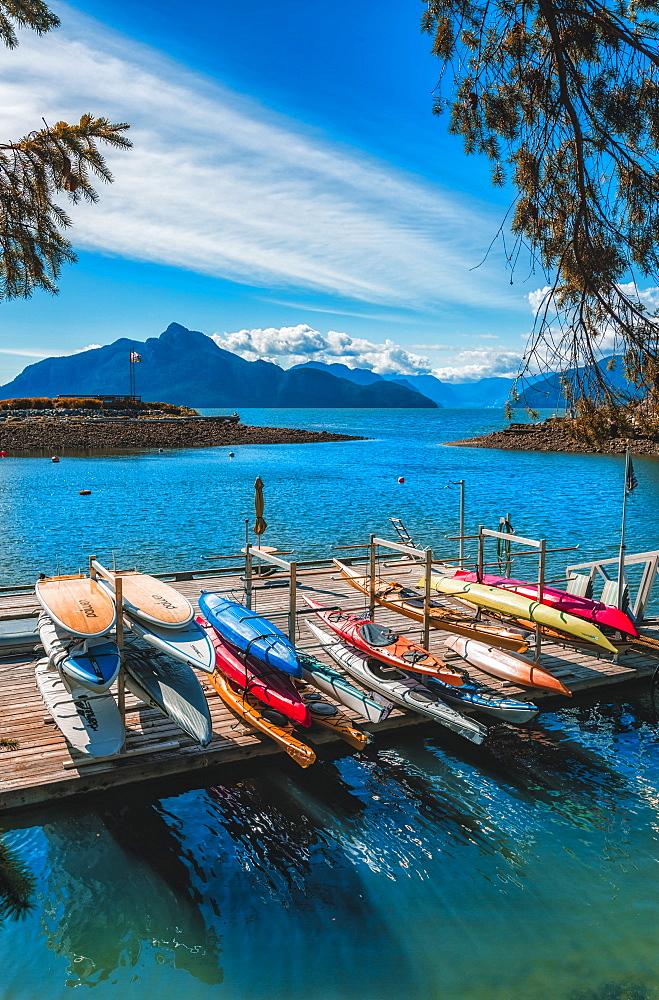 View of canoe boat dock in How Sound at Furry Creek off The Sea to Sky Highway near Squamish, British Columbia, Canada, North America - 1276-90