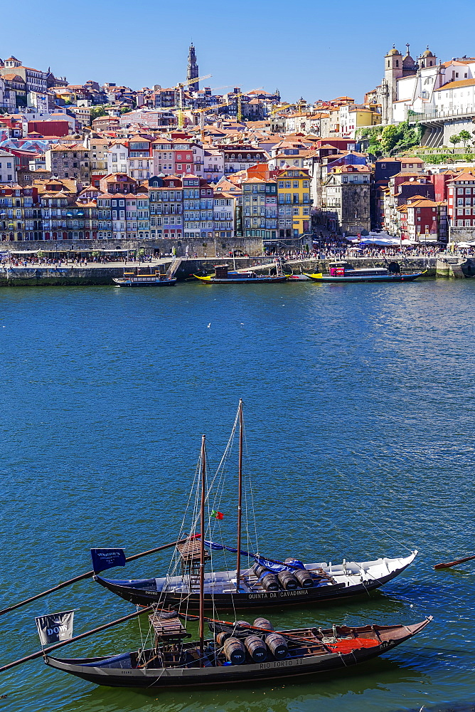 Ships used to carry port wine, moored in Vila Nova de Gaia on the Douro River, with Ribeira in the background, Porto, Portugal, Europe - 1278-181