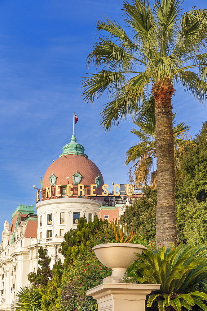 Famous Le Negresco Hotel building at Promenade des Anglais, Nice, Cote d'Azur, French Riviera, France, Europe - 1283-1011