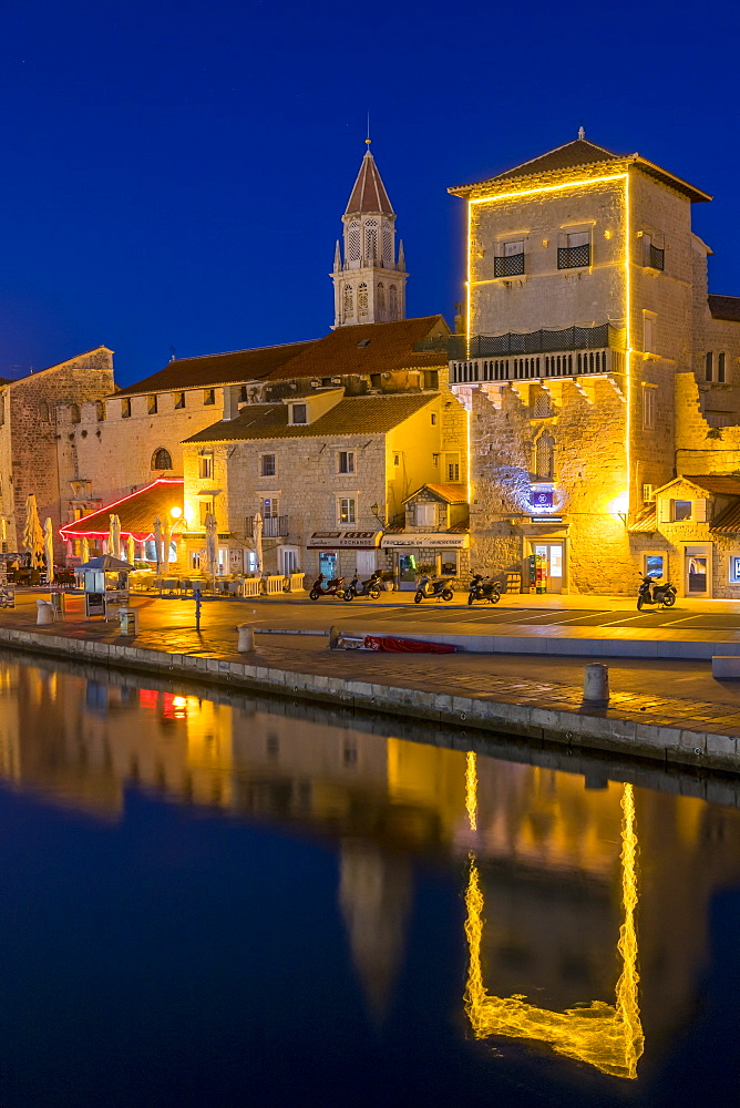 The old town of Trogir at dusk, UNESCO World Heritage Site, Croatia, Europe