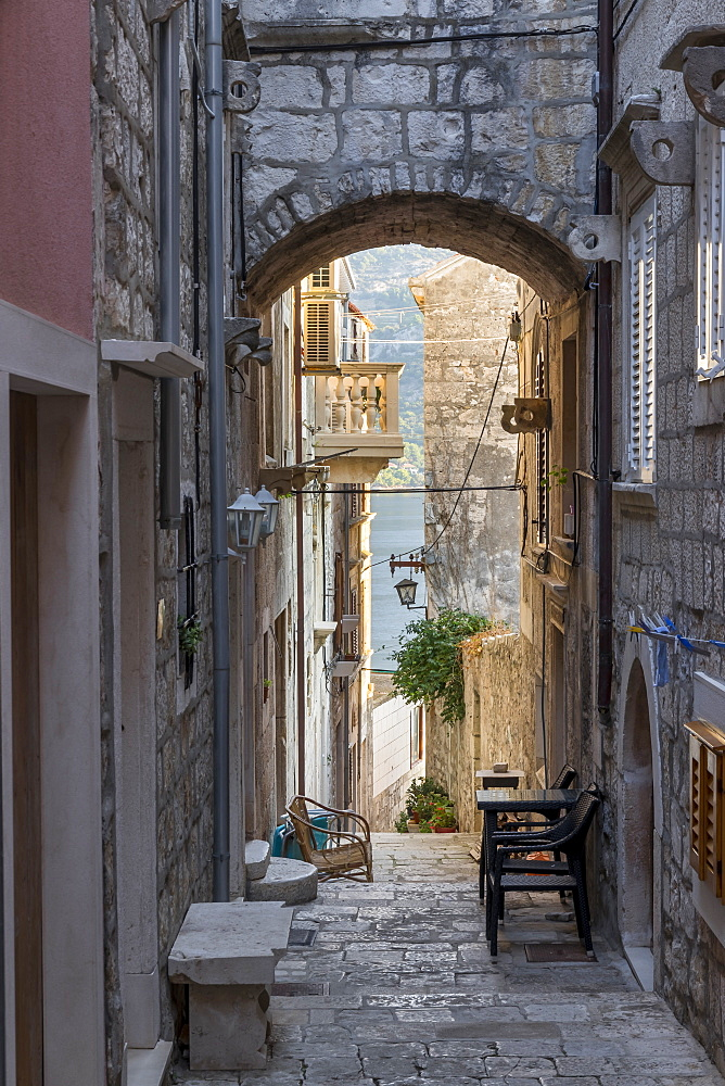 Narrow street in the old town of Korcula Town