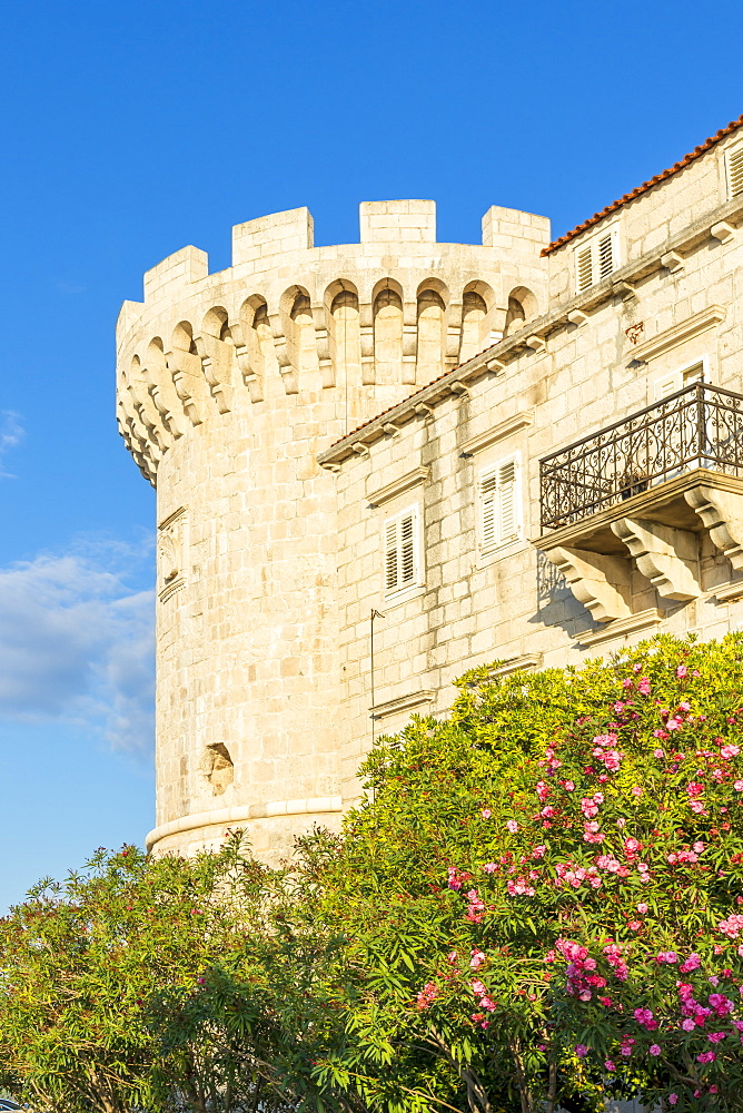Historical watchtower in the old town of Korcula Town, Croatia, Europe