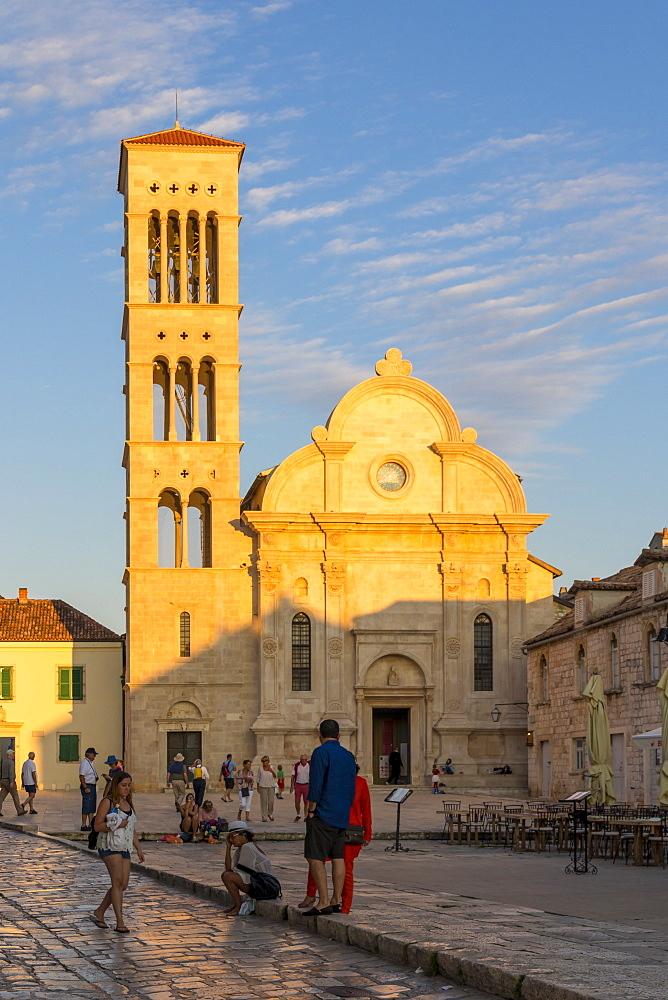 Saint Stephen Church at the main square of Hvar Town during sunset, Hvar, Croatia, Europe