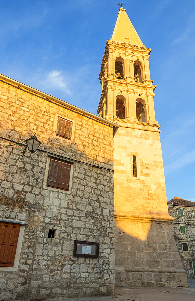 The church of Stari Grad on Hvar Island at first sunlight, Hvar, Croatia, Europe