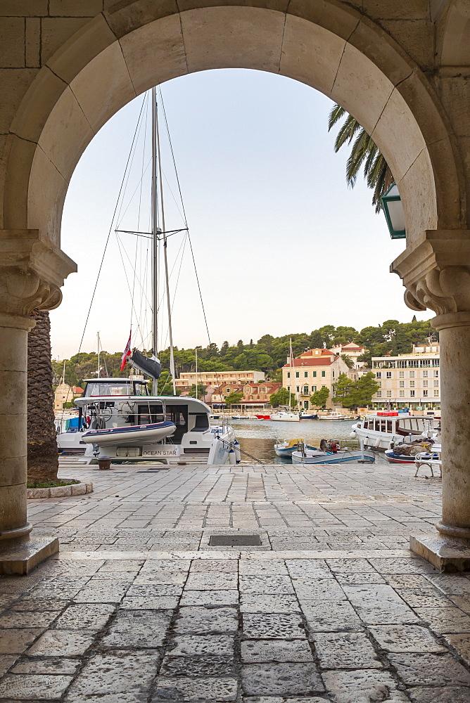 The port of Hvar Town, Hvar, Croatia, Europe