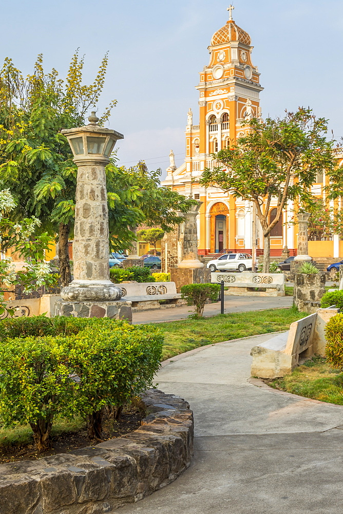 The Xalteva Church seen from Xalteva Park in Granada, Nicaragua, Central America