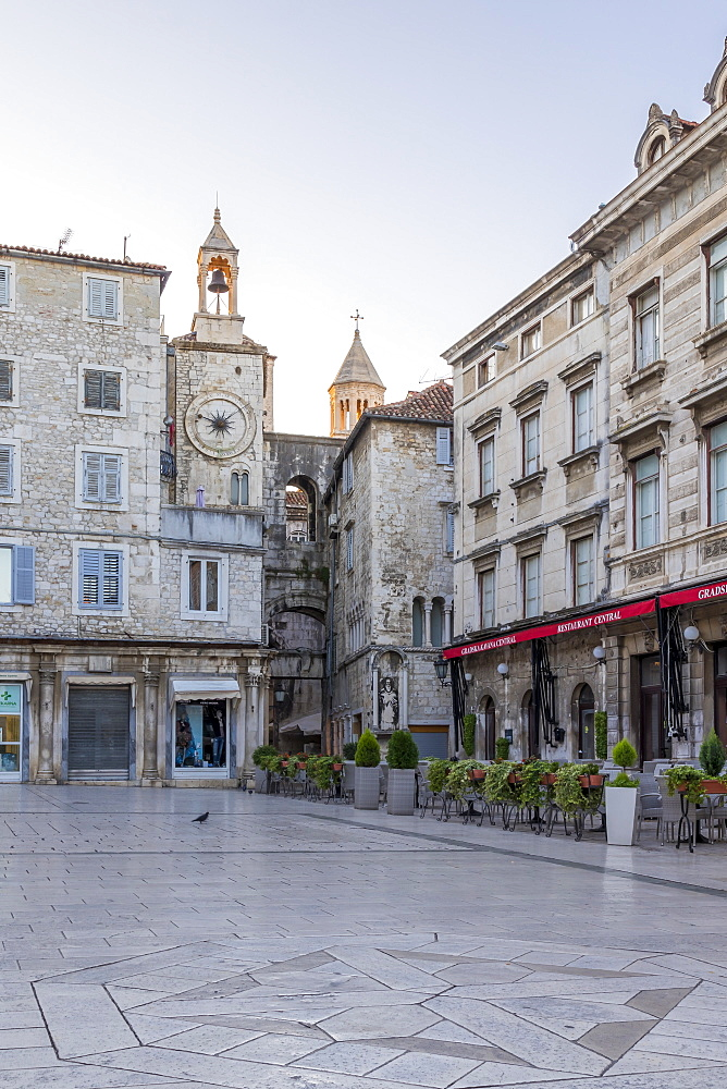 View to the bell tower at Narodni Square in the old town of Split at dawn, Croatia, Europe