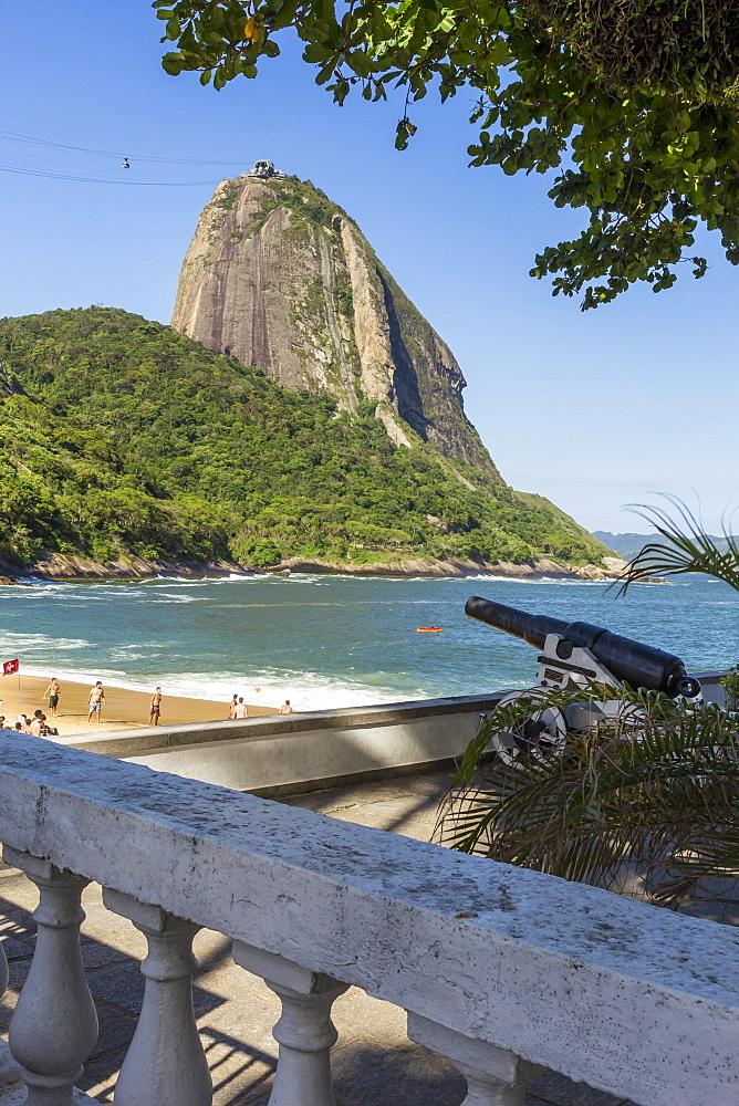 View from Praia Vermelha (Red Beach) to the Sugarloaf Mountain, Rio de Janeiro, Brazil