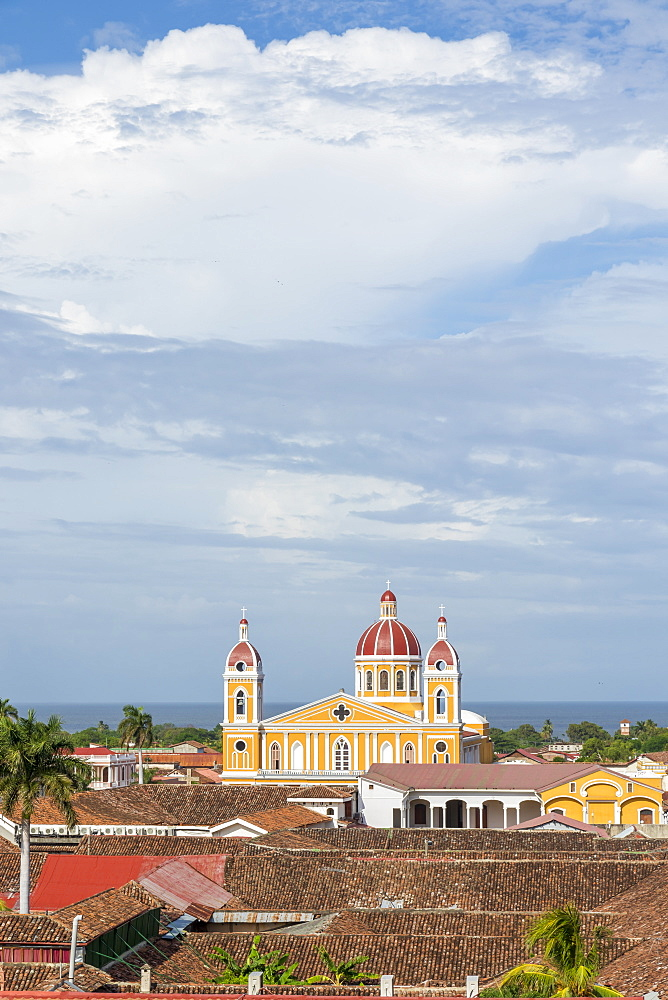 The Cathedral of Granada seen from the bell tower of La Merced church, Granada, Nicaragua