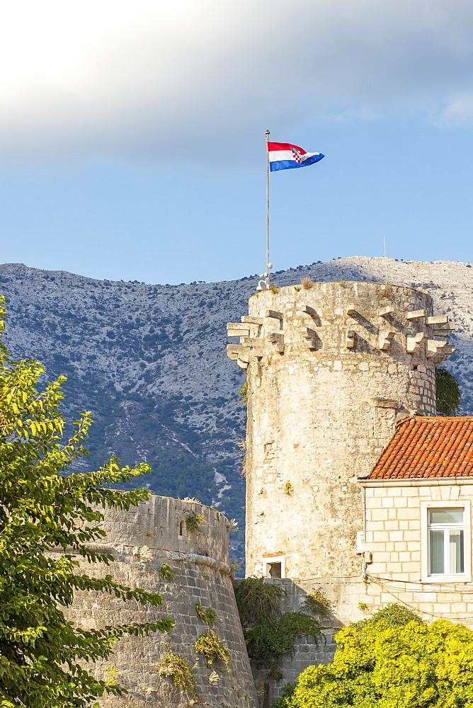 A watchtower in the old town of Korcula Town, Croatia