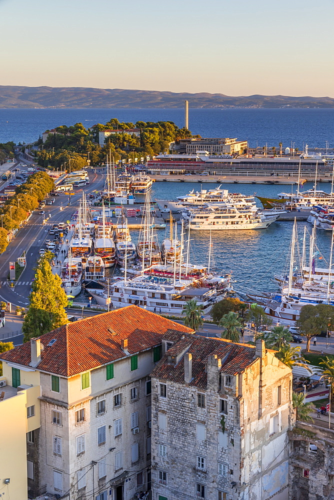 Elevated view from the bell tower of the Cathedral over the port, Split, Croatia, Europe