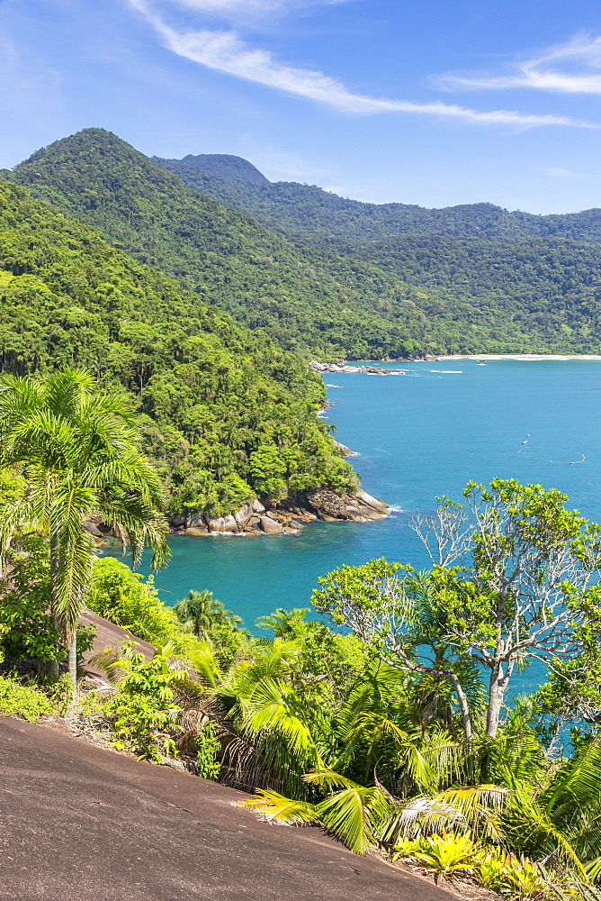 Elevated view from Indians Head Rock (Pedra Cabeca do Indio) over Cachadaca Beach, Trindade, Paraty, Rio de Janeiro, Brazil, South America