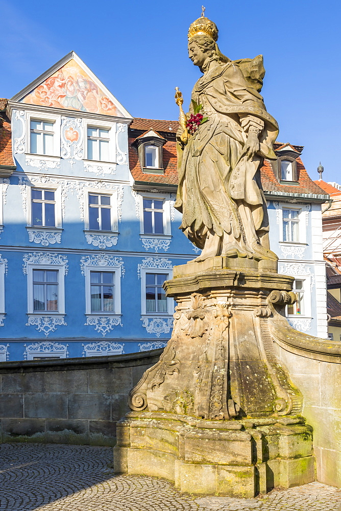 The Statue of Empress Kunigunda on the Lower Bridge, Bamberg, Upper Franconia, Bavaria, Germany, Europe