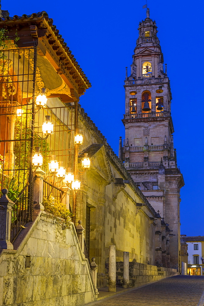The bell tower of the Mosque-Cathedral during the blue hour, Cordoba, Andalusia, Spain, Europe