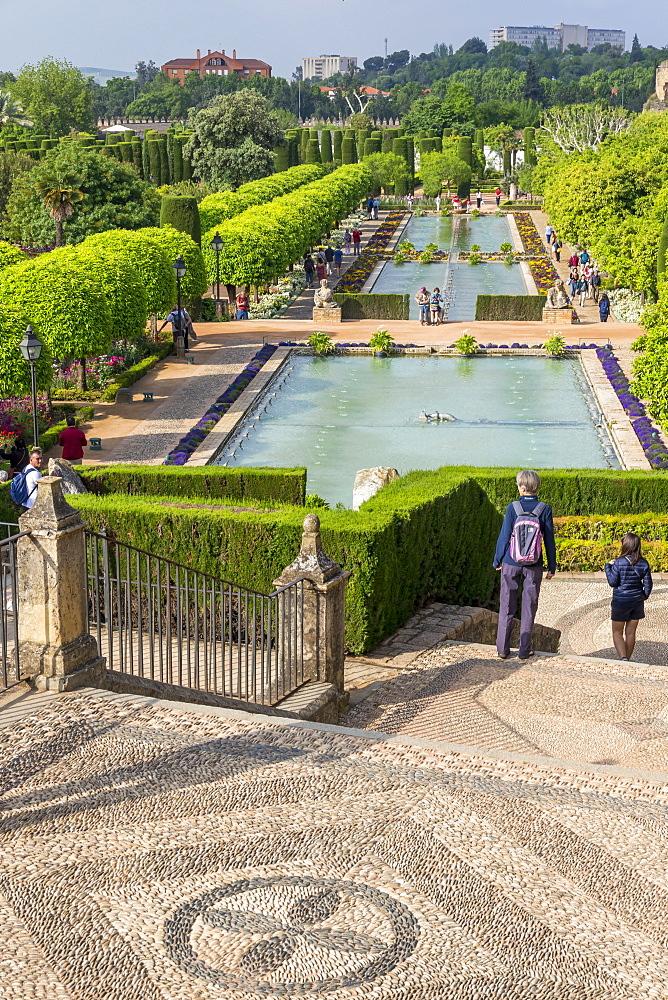 Garden of the Alcázar de los Reyes Cristianos, Cordoba, Andalusia, Spain, Europe