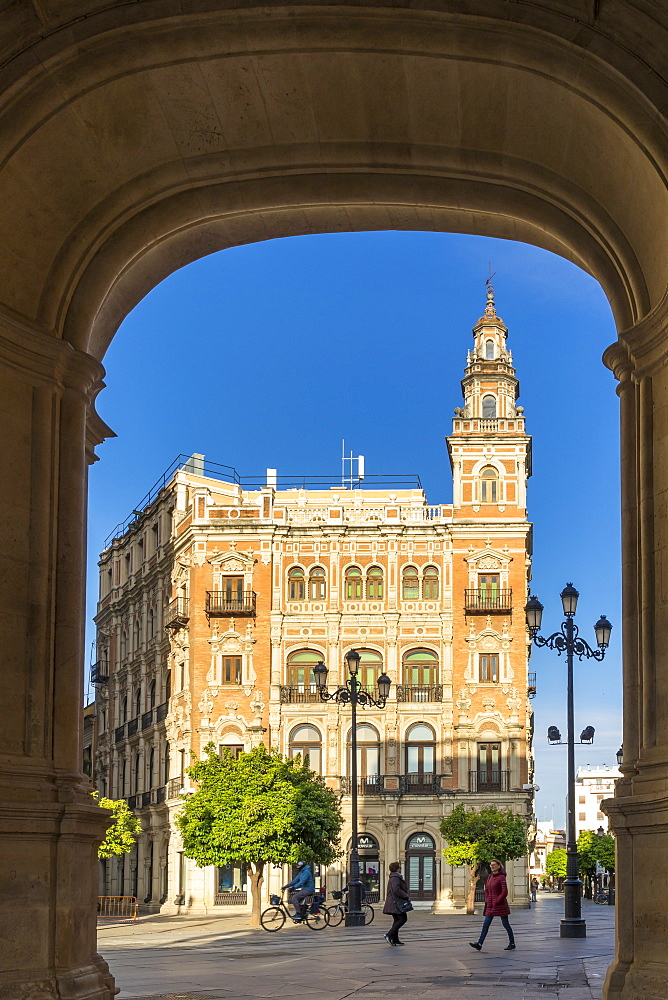 Historical building at Plaza Nueva, Seville, Andalusia, Spain, Europe