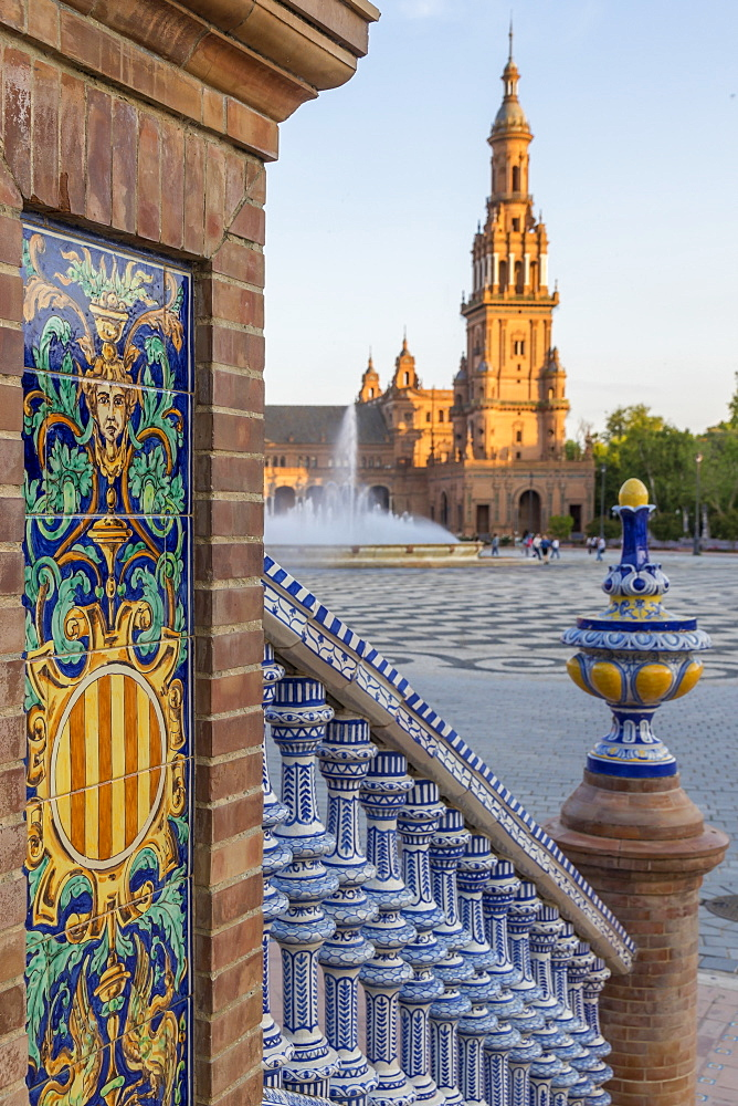 Southern Tower at Plaza de Espana, Seville, Andalusia, Spain, Europe