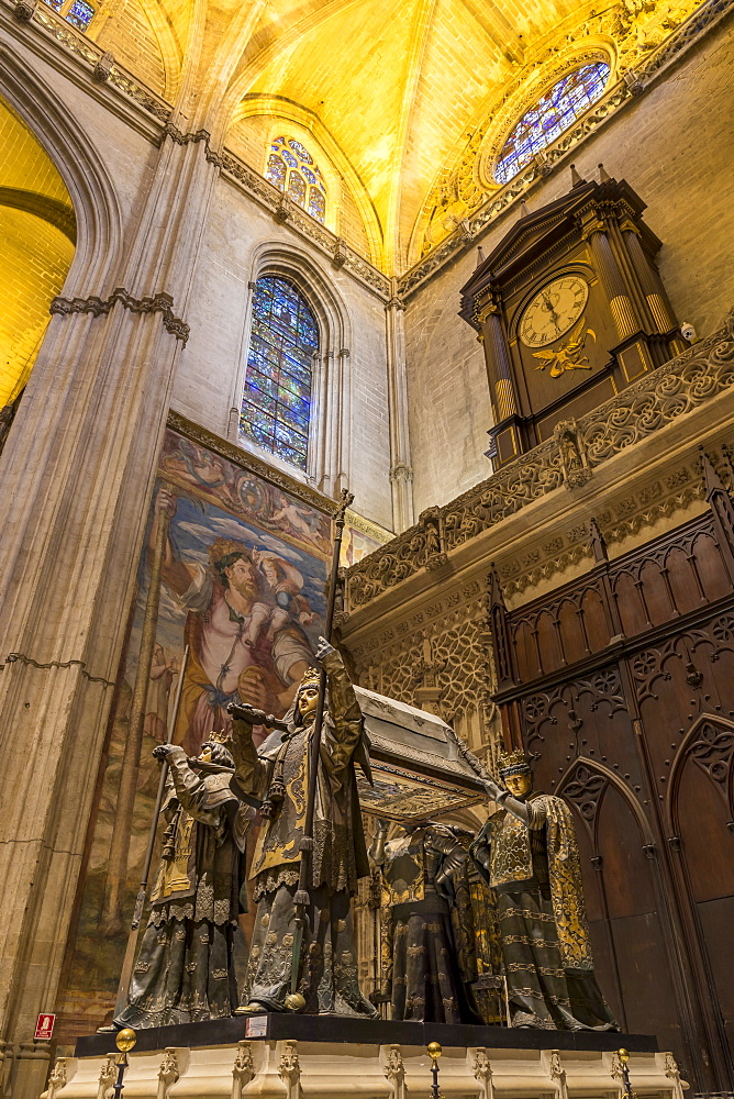 The tomb of Christopher Columbus inside the Cathedral of Seville, UNESCO World Heritage Site, Seville, Andalusia, Spain, Europe
