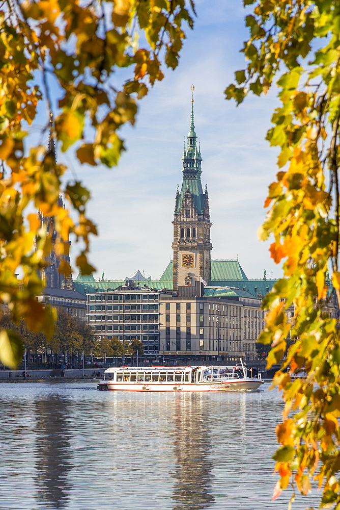 View from the Inner Alster (Binnenalster) to the town hall during autumn, Hamburg, Germany, Europe - 1283-691