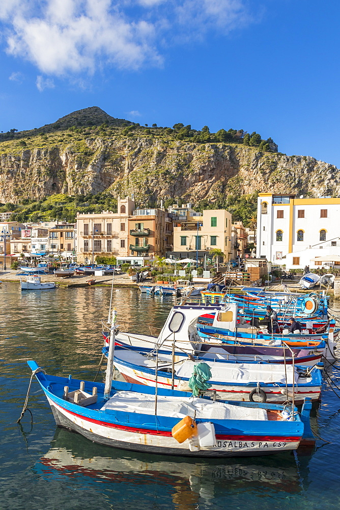Colorful boats anchoring at the port of Mondello with view to Mount Gallo in the background, Palermo, Sicily, Italy, Europe - 1283-704