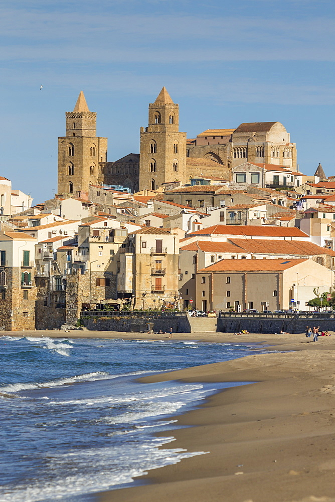 The cathedral and the old town seen from the beach, Cefalu, Sicily, Italy, Europe - 1283-711