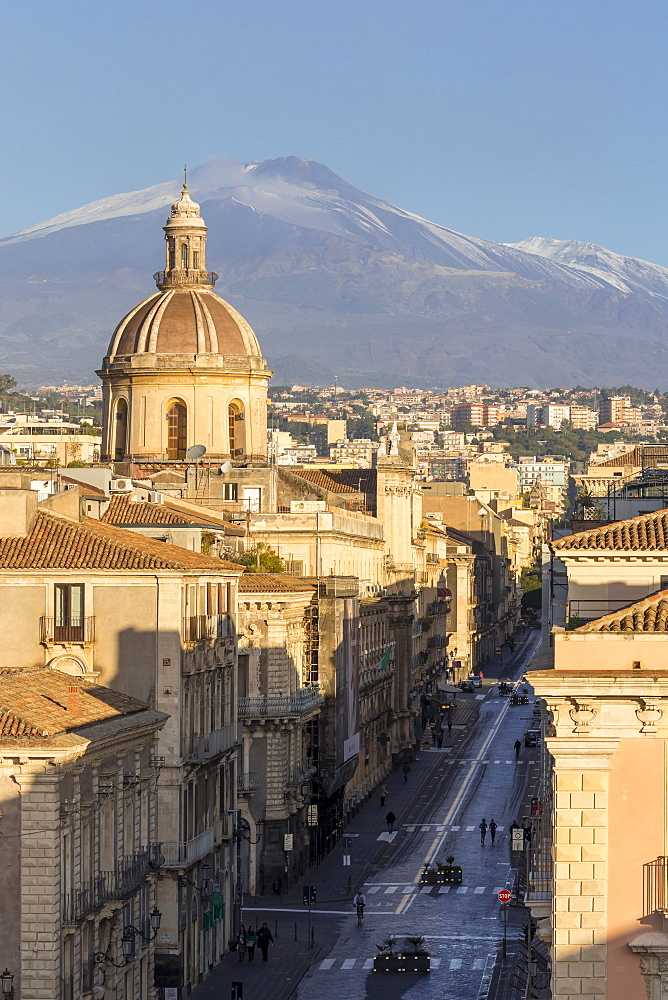 The cupula of Saint Michael church and Mount Etna in the background, Catania, Sicily, Italy, Europe - 1283-730