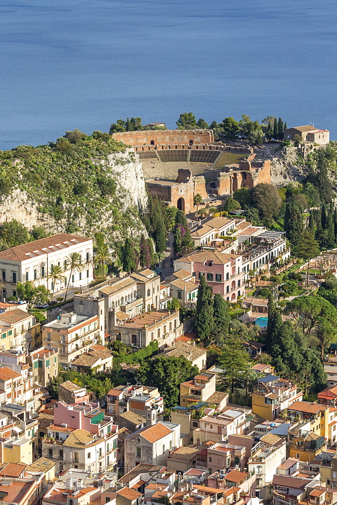 View over Taormina and the ancient Greek Theatre, Taormina, Sicily, Italy, Europe - 1283-794