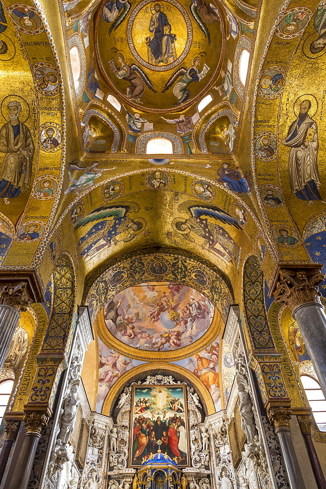 Interior of the Santa Maria dell'Ammiraglio church (also called 'La Martorana'), Palermo, Sicily, Italy, Europe - 1283-805