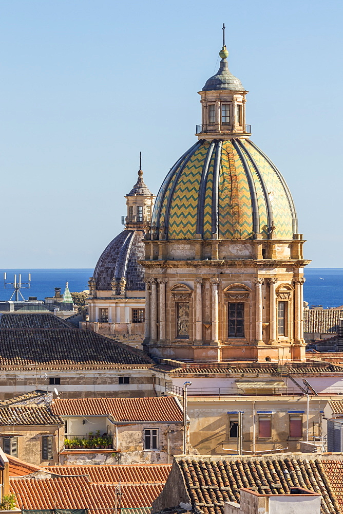 Cupolas of the San Giuseppe dei Padri Teatini and the Santa Caterina churches, Palermo, Sicily, Italy, Europe