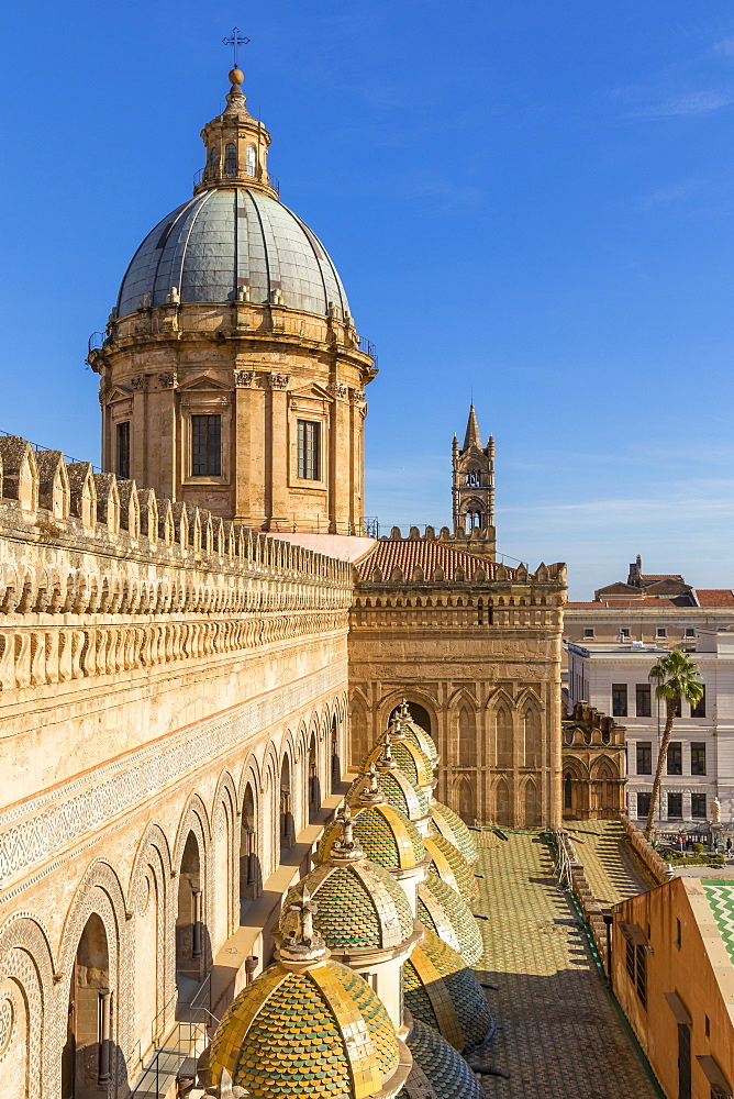 Cupola of the Palermo Cathedral (UNESCO World Heritage Site) seen from the rooftop, Palermo, Sicily, Italy, Europe - 1283-824