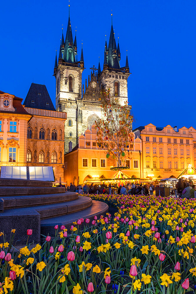 Staromestske namesti (Old Town Square) and Our Lady before Tyn Church at dusk, Prague, Bohemia, Czech Republic, Europe - 1283-832