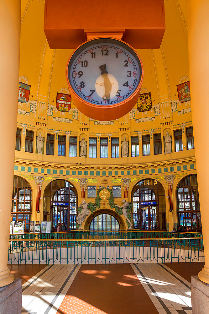 Historical entrance hall of the central station, Prague, Bohemia, Czech Republic, Europe