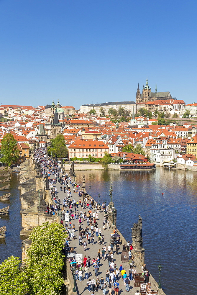 Elevated view from the Old Town Bridge Tower over Prague Castle and the Mala Strana District, UNESCO World Heritage Site, Prague, Bohemia, Czech Republic