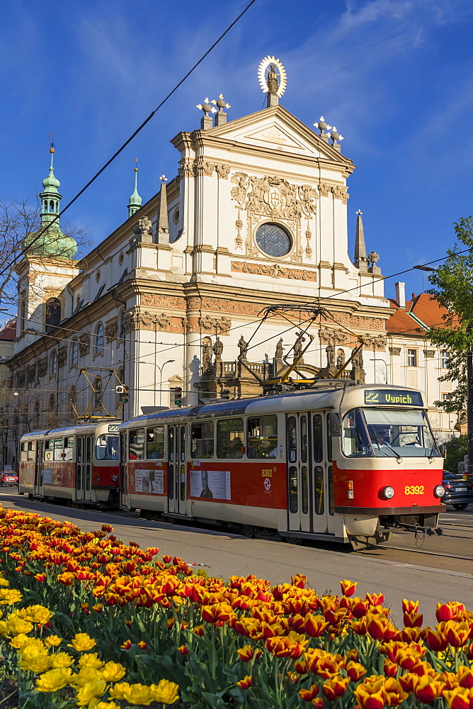 Famous tram line no. 22 passing at the St. Ignatius church in the New Town District, Prague, Bohemia, Czech Republic, Europe
