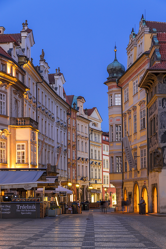 Historical buildings near the old town market square at dusk, Prague, Bohemia, Czech Republic, Europe