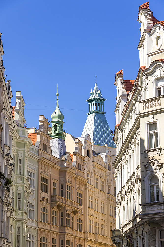 Facades of Art Nouveau buildings in the Josefov quarter in the old town, UNESCO World Heritage Site, Prague, Bohemia, Czech Republic, Europe