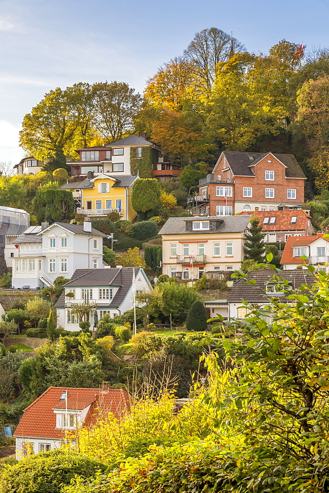 Small mansions at the so-called Treppenviertel of the Blankenese district in autumn, Hamburg, Germany, Europe