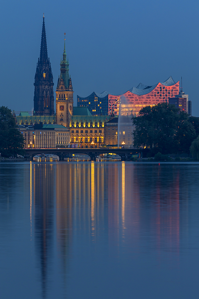 View from the Outer Alster Lake to the Elbphilharmonie, the town hall and St. Nikolai Memorial at dusk, Hamburg, Germany, Europe - 1283-921