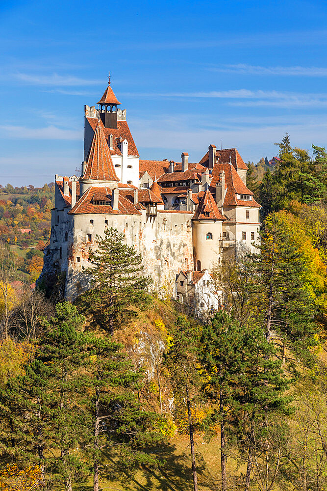 The famous Bran Castle seen from a lookout during autumn, Bran, Romania, Europe - 1283-951