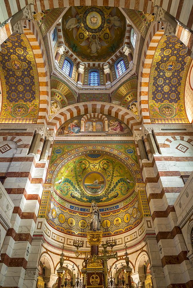 Interior of the Notre Dame de la Garde church, Marseille, Bouches du Rhone, Provence, France, Europe