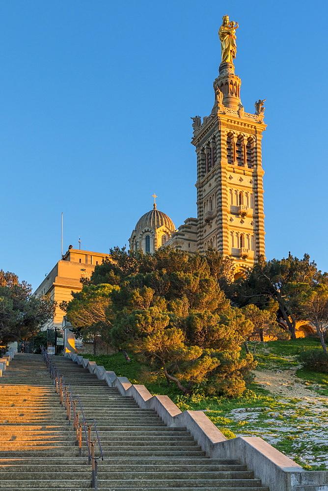 Notre Dame de la Garde church at last sunlight, Marseille, Bouches du Rhone, Provence, France, Europe